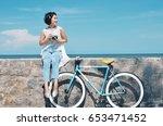 beautiful asian woman with... | Shutterstock . vector #653471452