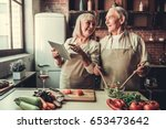beautiful senior couple in... | Shutterstock . vector #653473642