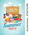 summer beach party invitation...   Shutterstock .eps vector #653476348
