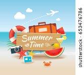 summer time background banner... | Shutterstock .eps vector #653476786