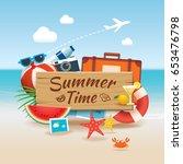 summer time background banner... | Shutterstock .eps vector #653476798