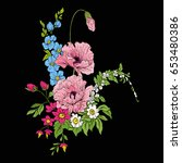 embroidery vintage flowers... | Shutterstock .eps vector #653480386