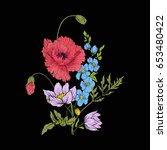 embroidery vintage flowers... | Shutterstock .eps vector #653480422