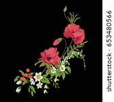 embroidery vintage flowers... | Shutterstock .eps vector #653480566