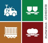 wagon icons set. set of 4 wagon ... | Shutterstock .eps vector #653483458