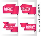 pink origami paper banners for... | Shutterstock .eps vector #653485276