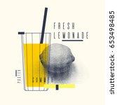 fresh lemonade stylish poster ... | Shutterstock .eps vector #653498485
