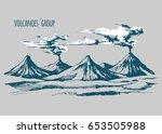 volcanoes landscape vector...   Shutterstock .eps vector #653505988