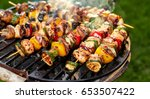 grilled skewers of vegetables... | Shutterstock . vector #653507422