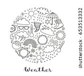 Doodle Outline Weather Icons...