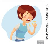 vector   sick woman. unhappy... | Shutterstock .eps vector #653513818
