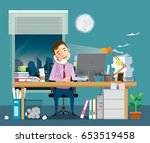 businessman is hard working at... | Shutterstock .eps vector #653519458