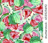 seamless watercolor pattern...   Shutterstock . vector #653525692