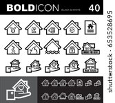 bold line icons   realestate...   Shutterstock .eps vector #653528695