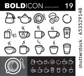 bold line icons  coffee and tea ...   Shutterstock .eps vector #653529148