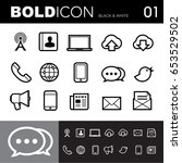 bold line icons  communication  ... | Shutterstock .eps vector #653529502