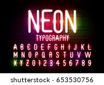 vector of abstract neon font... | Shutterstock .eps vector #653530756