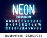 vector of abstract neon font... | Shutterstock .eps vector #653530768
