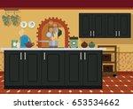 kitchen interior in... | Shutterstock .eps vector #653534662