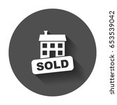 sold house icon. vector... | Shutterstock .eps vector #653539042