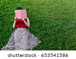 woman lay down or relaxing on... | Shutterstock . vector #653541586