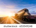 beautiful motion truck oil... | Shutterstock . vector #653549248