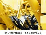 hydraulics tractor yellow.... | Shutterstock . vector #653559676