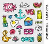 vector patch set   80s 90s... | Shutterstock .eps vector #653559946