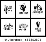 set of funny cards or posters... | Shutterstock .eps vector #653563876