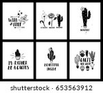 set of funny cards or posters... | Shutterstock .eps vector #653563912