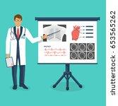 doctor in white coat with... | Shutterstock .eps vector #653565262