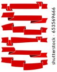 set of six red cartoon ribbons... | Shutterstock .eps vector #653569666