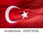 flag of turkey waving in the... | Shutterstock . vector #653579236