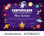 cute children certificate of... | Shutterstock .eps vector #653584222
