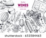 wines and gourmet snacks frame... | Shutterstock .eps vector #653584465