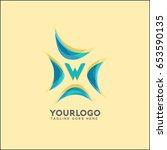 w letter water wave logo... | Shutterstock .eps vector #653590135
