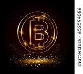 gold bitcoin symbol. electronic ... | Shutterstock .eps vector #653594086