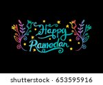 happy ramadan   muslim holiday... | Shutterstock .eps vector #653595916