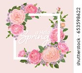 decorative vintage pink roses... | Shutterstock .eps vector #653598622