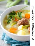 Meatball soup with vegetables - stock photo