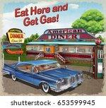 diner vintage poster. | Shutterstock .eps vector #653599945