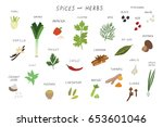spices and herbs food vector... | Shutterstock .eps vector #653601046