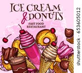 Ice Cream And Donuts Vector...