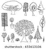 set of tree doodles vector   Shutterstock .eps vector #653613106
