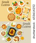 greek cuisine icon set with... | Shutterstock .eps vector #653614252