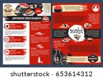sushi bar and seafood... | Shutterstock .eps vector #653614312