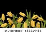 seamless floral border... | Shutterstock .eps vector #653614456