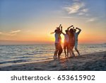 group of happy young people... | Shutterstock . vector #653615902