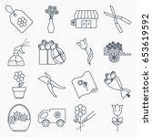 collection of flower shop icons | Shutterstock .eps vector #653619592