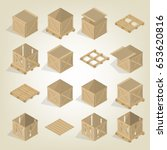 realistic wooden container for... | Shutterstock .eps vector #653620816